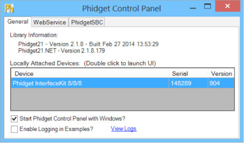 Windows Phidget Control Panel